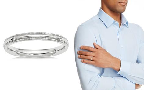 Bloomingdale's Men's 3mm Milgrain Comfort Fit Band in 14K White Gold - 100% Exclusive_2