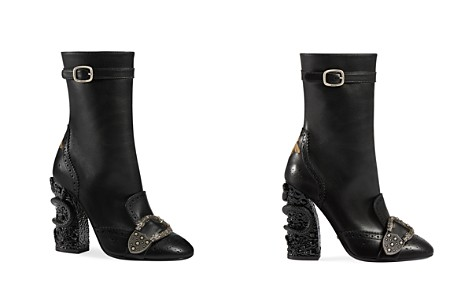 Gucci Women's Queercore Leather & Crystal Snake Block Heel Booties - Bloomingdale's_2