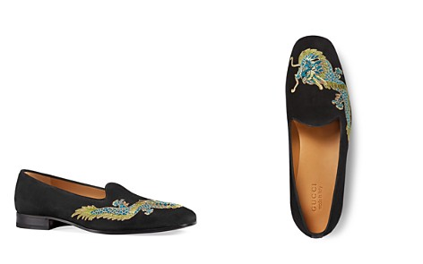 Gucci Men's Suede Dragon Embroidered Loafers - Bloomingdale's_2