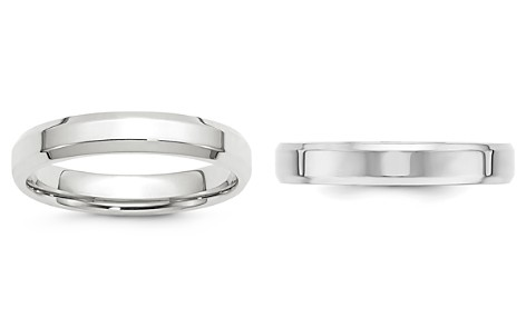 Bloomingdale's Men's 4mm Bevel Edge Comfort Fit Band in 14K White Gold - 100% Exclusive_2