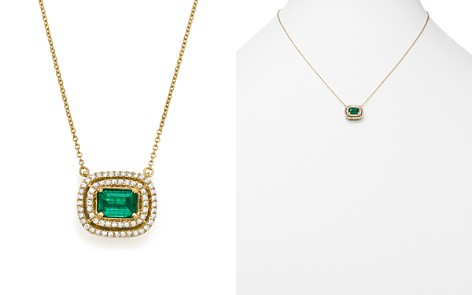 """Bloomingdale's Emerald & Diamond Halo Pendant Necklace in 14K Yellow Gold, 18"""" - 100% Exclusive _2"""