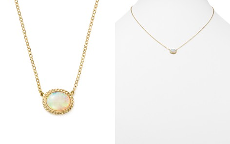 """Bloomingdale's Opal Oval Pendant Necklace in 14K Yellow Gold, 18"""" - 100% Exclusive _2"""