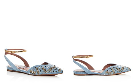 Tabitha Simmons Women's Vera Fly Spark Embellished Denim Ankle Strap Flats - Bloomingdale's_2