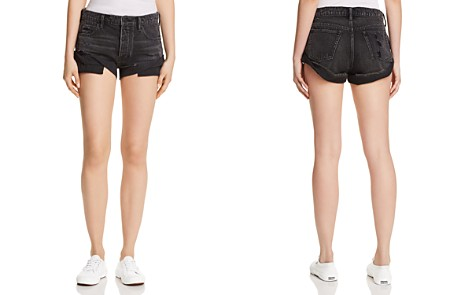 T by Alexander Wang Hike Rolled Denim Shorts in Gray Aged - Bloomingdale's_2