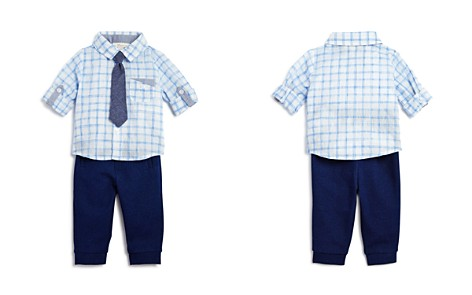 Miniclasix Boys' Plaid Shirt, Tie & Jogger Pants Set - Baby - Bloomingdale's_2