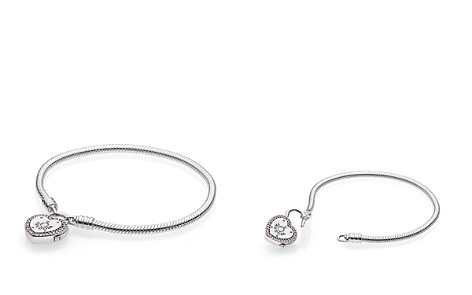 PANDORA Sterling Silver & Cubic Zirconia Lock Your Promise Snake Chain Bracelet - Bloomingdale's_2