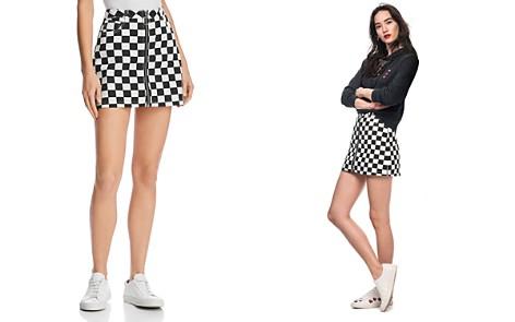 Sunset + Spring Checkerboard Denim Mini Skirt - 100% Exclusive - Bloomingdale's_2