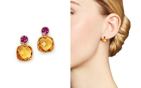 Olivia B 14K Yellow Gold Geometric Citrine & Rhodolite Garnet Bezel Earrings - 100% Exclusive - Bloomingdale's_2