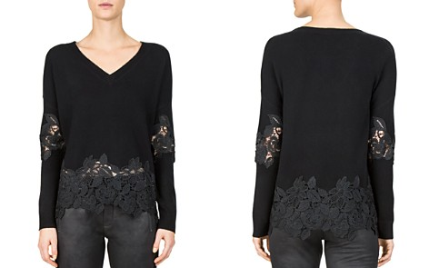 The Kooples Lace-Peplum V-Neck Sweater - Bloomingdale's_2