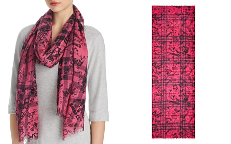 Burberry Gauze Giant Check Doodle Print Scarf - Bloomingdale's_2