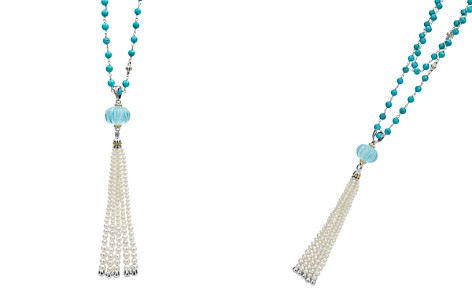"LAGOS 18K Gold & Sterling Silver Caviar Forever Sky Blue Topaz & Cultured Freshwater Pearl Tassel Pendant Necklace, 36"" - Bloomingdale's_2"