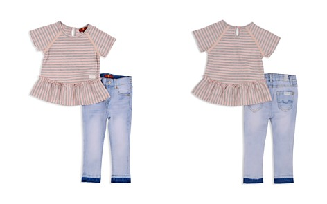 7 For All Mankind Girls' Striped Ruffled Tee & Light-Wash Skinny Jeans Set - Baby - Bloomingdale's_2