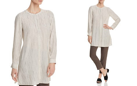 Eileen Fisher Petites Pinstriped Silk Tunic Top - Bloomingdale's_2