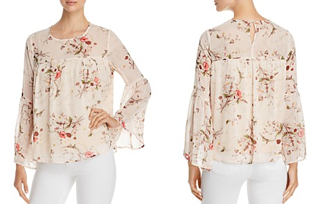 B Collection by Bobeau Rayes Floral-Print Bell-Sleeve Top - Bloomingdale's_2