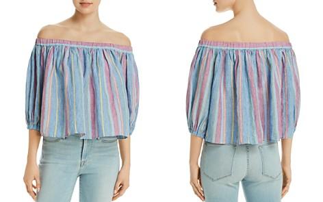 FRAME Striped Off-the-Shoulder Linen Top - Bloomingdale's_2
