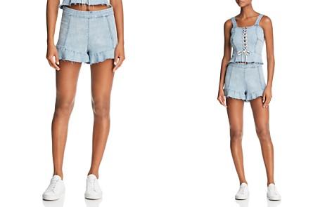 BLANKNYC Ruffled Denim Shorts in Champagne Social - 100% Exclusive - Bloomingdale's_2