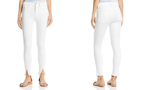 FRAME Le High Raw-Edge Front Split Skinny Jeans in Blanc - Bloomingdale's_2