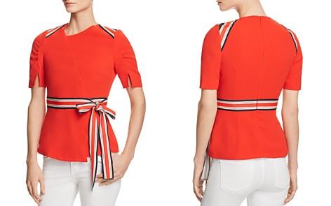 KAREN MILLEN Striped-Trim Ruched-Sleeve Top - 100% Exclusive - Bloomingdale's_2