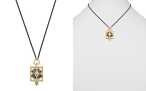 """Armenta 18K Yellow Gold & Blackened Sterling Silver Old World Aquaprase, White Sapphire & Champagne Diamond Pendant Necklace, 16"""" - Bloomingdale's_2"""