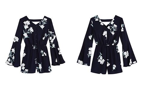 AQUA Girls' Bell-Sleeve Floral Romper, Big Kid - 100% Exclusive - Bloomingdale's_2