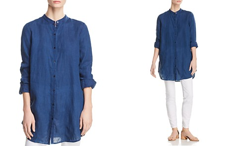 Eileen Fisher Petites Band-Collar Linen Top - 100% Exclusive - Bloomingdale's_2