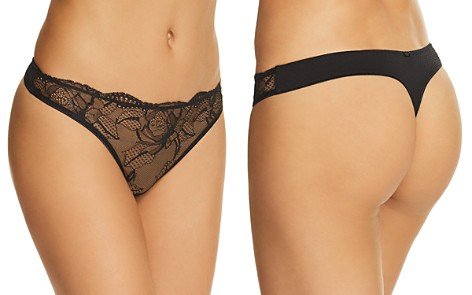 Calvin Klein CK Black Rose Lace Thong - Bloomingdale's_2