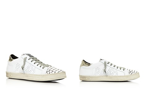 P448 Women's John Perforated Leather & Snake Print Lace Up Sneakers - Bloomingdale's_2