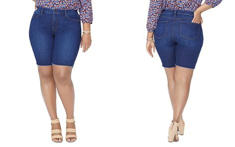 NYDJ Plus Briella Frayed Hem Denim Bermuda Shorts in Cooper - Bloomingdale's_2