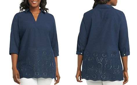 Foxcroft Plus Costa Eyelet-Trim Tunic - Bloomingdale's_2