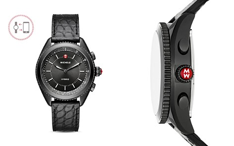 MICHELE Black Alligator & Silicone Strap Hybrid Smartwatch, 38mm - Bloomingdale's_2