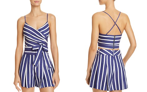 Alice + Olivia Rayna Striped Tie-Front Cropped Top - Bloomingdale's_2