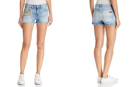 7 For All Mankind Embellished Cutoff Denim Shorts in Light Gallery Row 4 - Bloomingdale's_2