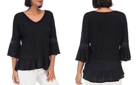 B Collection by Bobeau Kenya Lace-Sleeve Peplum Top - Bloomingdale's_2
