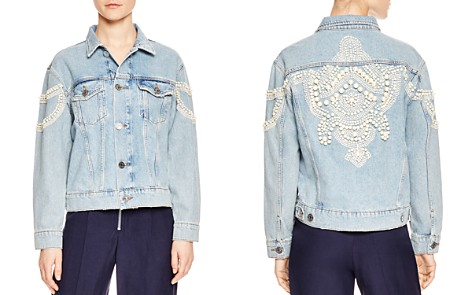 Sandro Eriko Simulated Pearl-Detail Denim Jacket - Bloomingdale's_2