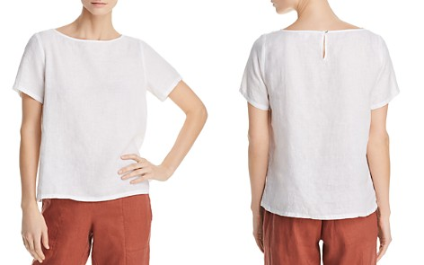 Eileen Fisher Organic Linen Back Keyhole Top - Bloomingdale's_2