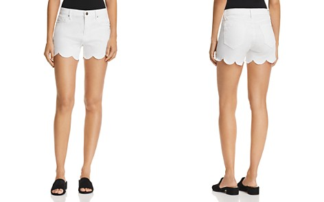 AQUA Scalloped Denim Shorts in Off White - 100% Exclusive - Bloomingdale's_2
