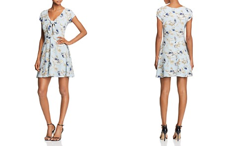 AQUA Tie Detail Floral Print Dress - 100% Exclusive - Bloomingdale's_2