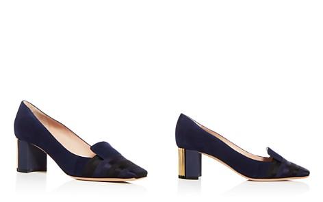 Giorgio Armani Women's Decollete Suede & Satin Striped Block Heel Pumps - Bloomingdale's_2