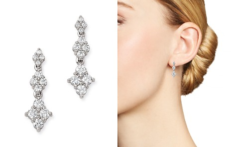 Bloomingdale's Diamond Graduated Cluster Drop Earrings in 14K White Gold, 1.0 ct. t.w. - 100% Exclusive _2