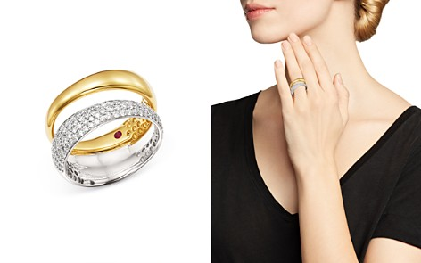 Roberto Coin 18K White & Yellow Gold Scalare Pavé Diamond Double Ring - Bloomingdale's_2