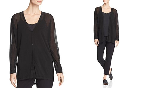 Eileen Fisher Sheer Silk V-Neck Cardigan - Bloomingdale's_2