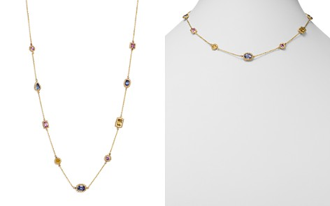 """Bloomingdale's Multicolor Sapphire Beaded Station Necklace in 14K Yellow Gold, 16.75"""" - 100% Exclusive _2"""