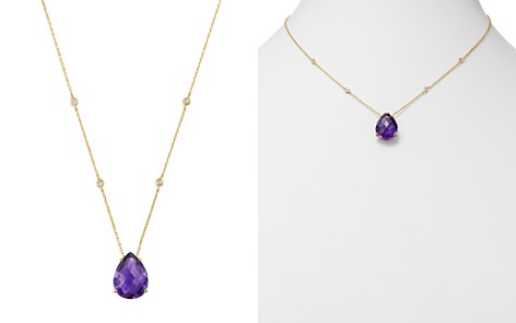 """Bloomingdale's Amethyst Teardrop & Diamond Station Necklace in 14K Yellow Gold, 17"""" - 100% Exclusive _2"""