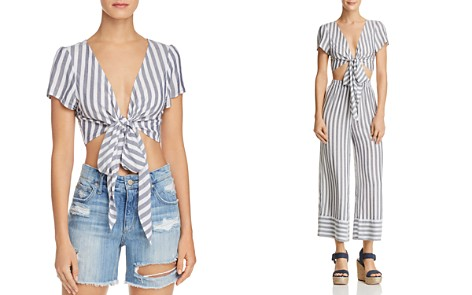 AQUA Tie-Front Striped Cropped Top - 100% Exclusive - Bloomingdale's_2