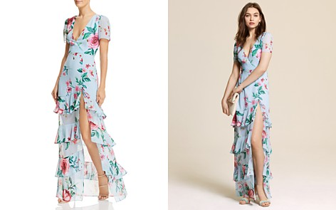 Fame and Partners Pearl Faux-Wrap Floral Gown - Bloomingdale's_2
