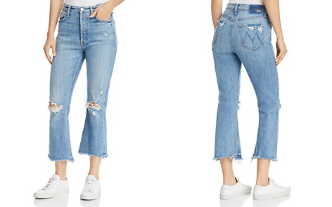 MOTHER Tripper Distressed Cropped Flared Jeans in Misbeliever - Bloomingdale's_2