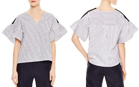 Sandro Delphina Striped Flared-Cuff Top - Bloomingdale's_2