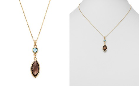 """Bloomingdale's Smoky Quartz & Blue Topaz Pendant Necklace in 14K Yellow Gold, 18"""" - 100% Exclusive _2"""