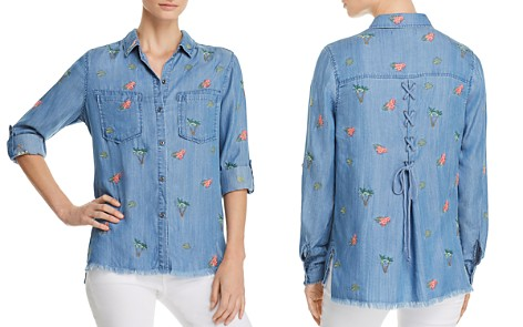 Billy T Lace-Up Embroidered Shirt - Bloomingdale's_2