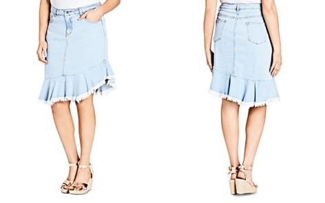 City Chic Plus Asymmetric Frayed Hem Denim Skirt - Bloomingdale's_2